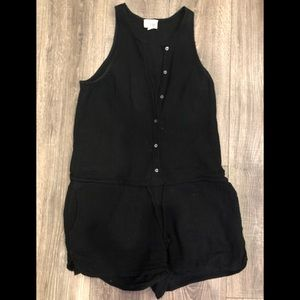 WILFRED FREE Button Up Cotton Romper (black)